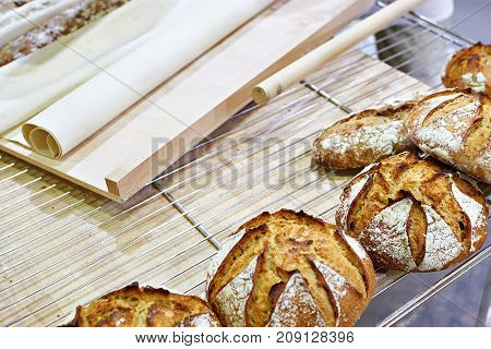 Fresh Bread With Crust In Bakery
