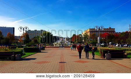 Gdynia, Poland - October 15, 2017: Kosciuszko Square in Gdynia, Poland. People walk on the pedestrian street in the center of   Gdynia.