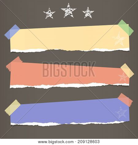 Colorful ripped paper strips, notebook sheets for note or message stuck with sticky tape on dark background with stars