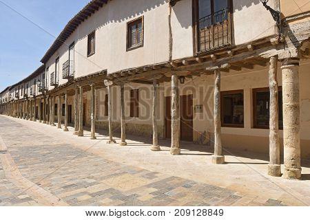 Street With Arcades In Ampudia, Tierra De Campos, Palenciia Province, Castilla Y Leon, Spain