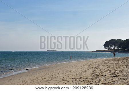 Mouth And River Beach Mino, La Guardia, ( A Guarda) Pontevedra Province, Galicia, Spain