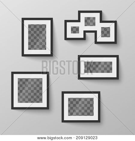 Set of different black blank picture frames with transparent place for photo in different proportions