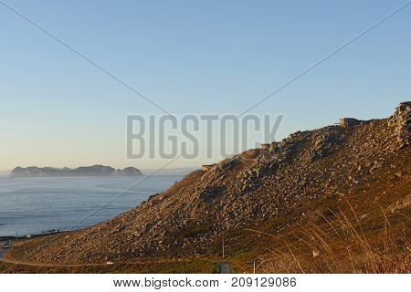 Old military battery in Cabo Silleiro Pontevedra province Galicia Spain