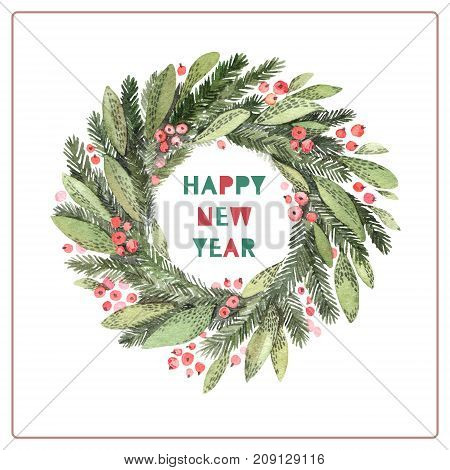 Watercolor Illustration. Decorative Christmas Laurel Wreath. Perfect For Invitations, Greeting Cards