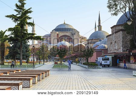 ISTANBUL, TURKEY - SEPTEMBER 11, 2017: It is a view of the Hagia Sophia from Sultanahmet Park in the early autumn morning.