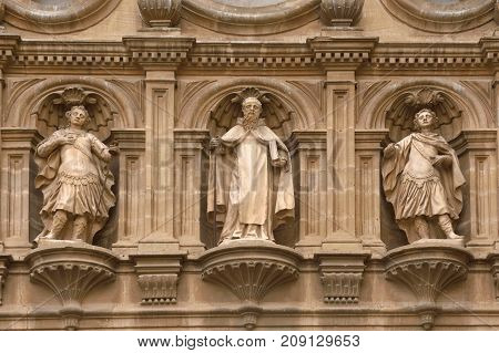 Sculptures On The Facade Of The Cathedral Of Santo Domingo De La Calzada, La Rioja, Spain