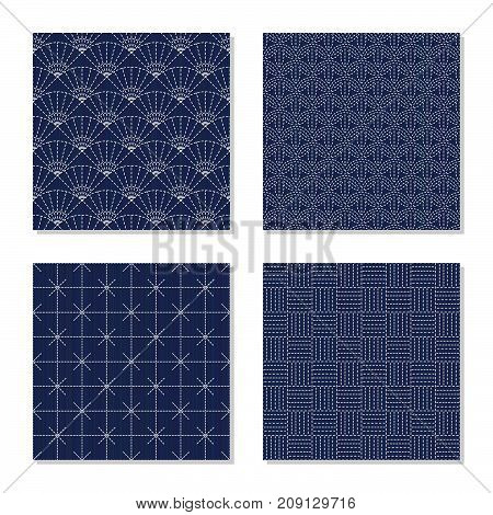 Four simple backgrounds. Japanese sashiko motifs. Seamless patterns. Indigo lines and stitches. Plain abstract textures. For decoration, wallpaper or pattern fills.