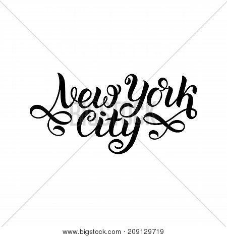New york city. NY logo isolated. Black NYC label or logotype. Vintage badge calligraphy siolated on white. Great for t-shirts or poster