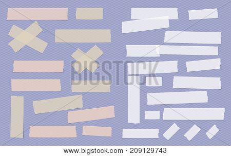 Brown and white different size adhesive, sticky, paper pieces on purple squared background