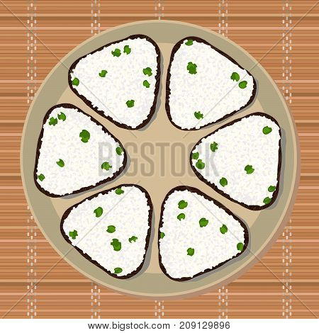 Onigiri with green peas. Triangle rice balls wrapped with nori seaweed. Illustration. Japanese cuisine. Lunch texture. Asian snack plate on the japanese bamboo mat.