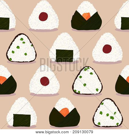 Onigiri pattern. Japanese sticky rice balls. Seamless pattern. Stuffed with green peas. With Pickled plum. Wrapped in nori seaweed. Filled with salmon. Asian snack. Lunch texture. Illustration.