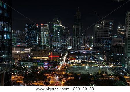 A view of the night city of Manila, Philippines.