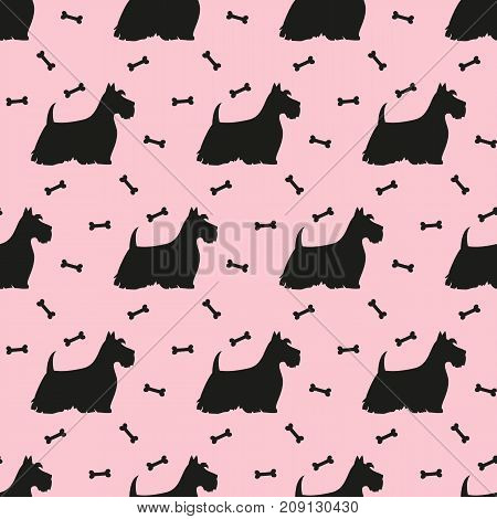 Seamless pattern with black silhouettes of terriers. Vector illustration.