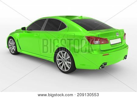 Car Isolated On White - Green Paint, Tinted Glass - Back-left Side View