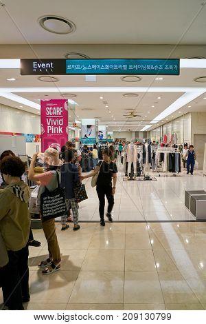 BUSAN, SOUTH KOREA - MAY 28, 2017: inside Lotte Department Store.