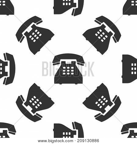 Telephone icon seamless pattern on white background. Landline phone. Flat design. Vector Illustration