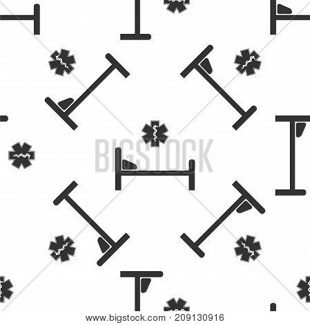 Hospital Bed with Medical symbol of the Emergency - Star of Life icon seamless pattern on white background. Flat design. Vector Illustration
