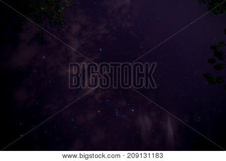 Shining night starry sky. Puerto Princesa, Philippines