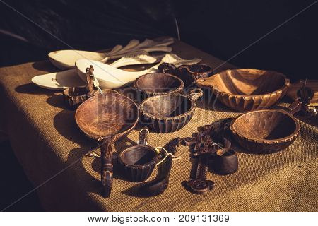 Handmade Wooden Bowls With Handle And Spoons