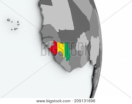 Map Of Guinea With Flag