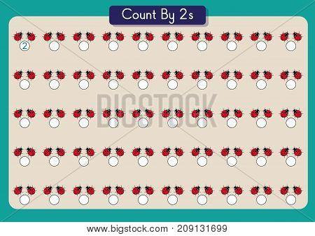 count by twos practice worksheet, write the missing numbers,