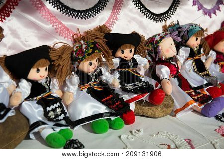 Romanian Souvenir Dolls In Traditional Costumes