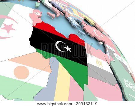 Flag Of Libya On Globe