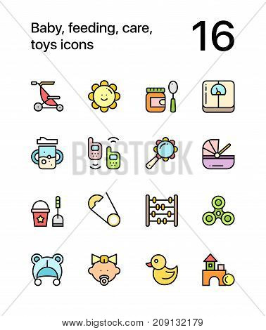 Colored Baby, feeding, care, toys icons for web and mobile design pack 3