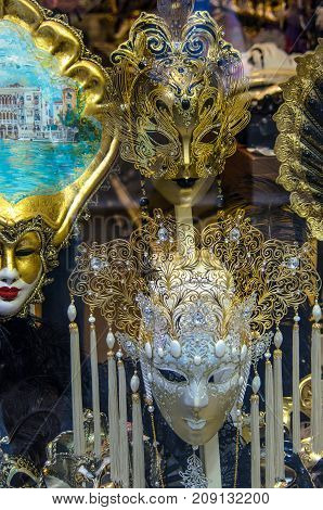 VENICE ITALY - SEPTEMBER 29 2017: Authentic and original Venetian full-face masks for Carnival in street shop of Venice Italy.