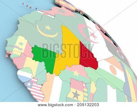 Flag Of Mali On Globe