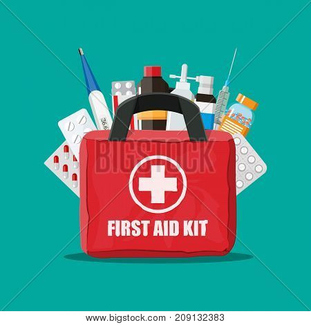 Medical first aid kit with different pills, syringe and thermometer. Healthcare, hospital and medical diagnostics. Urgency and emergency services. Vector illustration in flat style