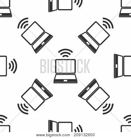 Laptop and wireless icon. Wireless technology, wifi connection, wireless network, hotspot concepts icon seamless pattern on white background. Flat design. Vector Illustration