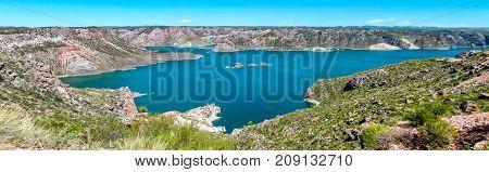 Panoramic view of Argentina Lake near Mendoza