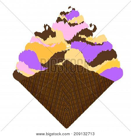 Isolated sundae on a white background, Vector illustration