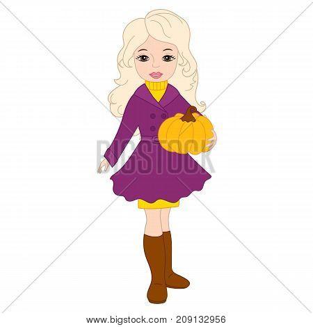 Vector beautiful young girl holding a pumpkin. Vector autumn girl. Autumn girl vector illustration