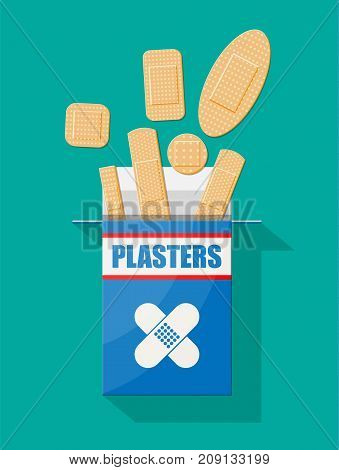 Set of aid medical plaster in various sizes. Plasters in box. Healthcare and pharmacy. Vector illustration in flat style