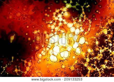 Artistic background liquid red and yellow bubbles