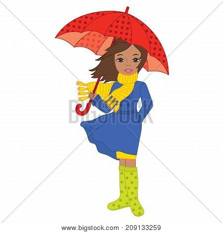 Vector African American beautiful girl holding umbrella. Vector African American autumn girl.  Autumn girl vector illustration