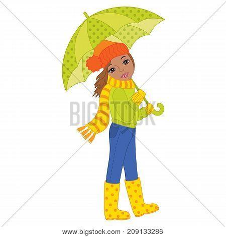 Vector beautiful African American girl holding umbrella. Vector autumn girl. African American autumn girl vector illustration