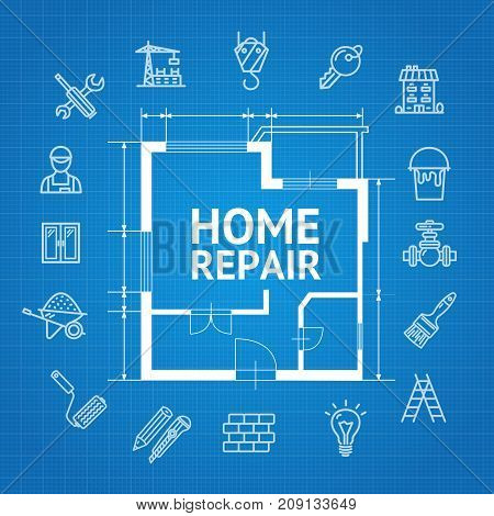Home Repair Service Concept witch Building Construction Outline Icons and Plan of Apartment on a Blue Background Top View. Vector illustration