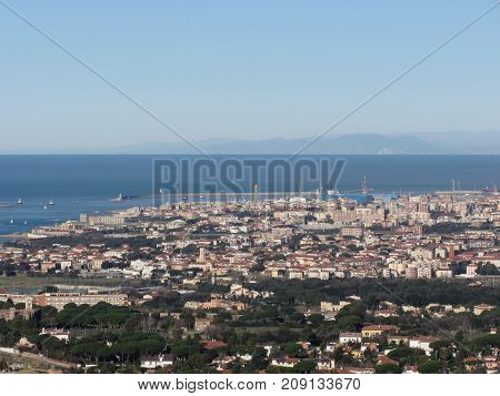 Spectacular aerial panorama of Livorno city made from the nearby hills of Montenero on sunny day. Tuscany Italy