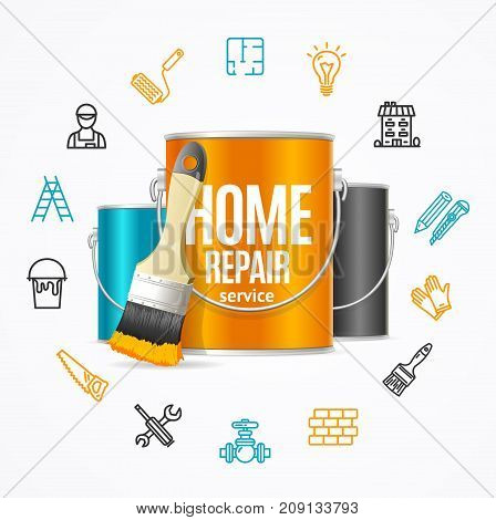 Home Repair Service Concept witch Building Construction Outline Icons, Color Steel Can Bucket and Paint Brush. Vector illustration