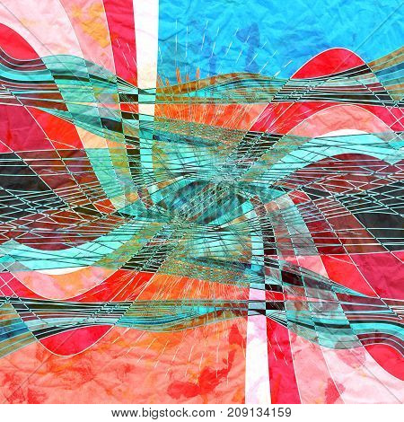Abstract graphic arts colored background with wavy element