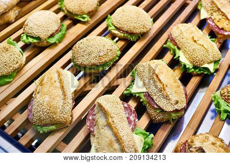 Sandwiches On Wooden Counter Of Cafe