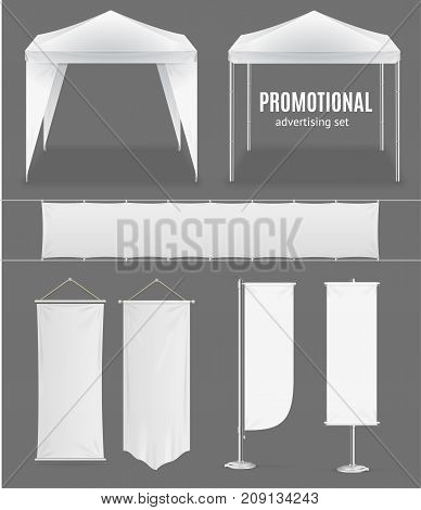 Realistic Promotional Advertising Set Empty Template Textile Banner, Flag and Tent or Pavilion for Fair, Festival, Expo. Vector illustration
