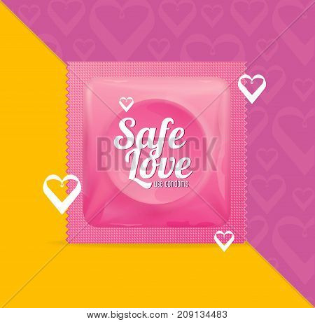 Realistic 3d Detailed Condoms Package Safe Love with Heart Shape Concept Symbol of Romance Couple Contraception Method . Vector illustration