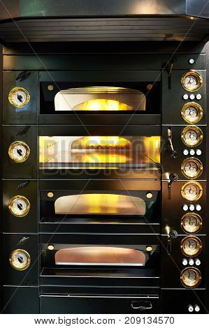 The a black oven in the bakery