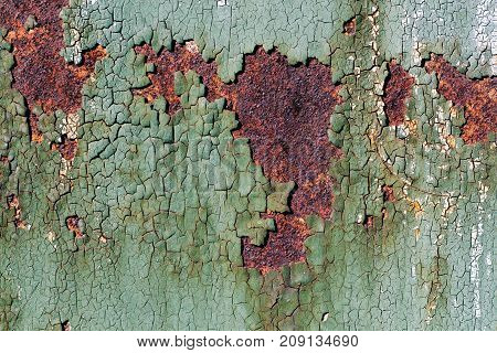 Rusty Metal Surface With Cracked Green Paint, Abstract Rusty Metal Texture, Rusty Metal Background F