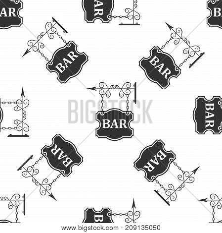 Bar signboard icon seamless pattern on white background. Flat design. Vector Illustration