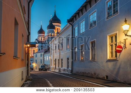Tallinn, Estonia. Evening Or Night View Of Alexander Nevsky Cathedral From Piiskopi Street. Orthodox Cathedral Is Tallinn's Largest And Grandest Orthodox Cupola Cathedral.